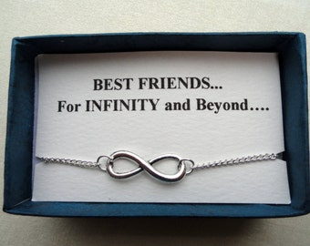 Infinity bracelet gift, Friendship gift, Silver infinity bracelet, Infinity bracelet, Infinity jewelry, Bridesmaids gifts