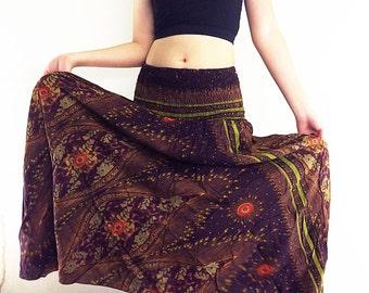 Women Maxi Dress Gypsy Dress Skirt Rayon Dress Skirt Boho Dress Hippie Dress Summer Beach Dress Long Skirt Clothing Brown (DS31)