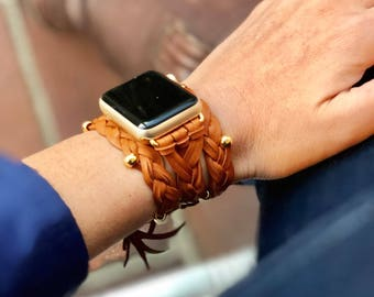 "Whiskey Natural Grain Leather Braided Women's Apple Watch Wrap Band **IMPORTANT: See ""Details"" for wrist sizing**"