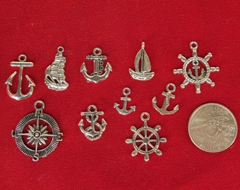 """10pc set """"anchor set"""" charms in antique silver style (BC1199)"""
