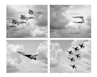 Fighter Jet Series Set of 4 8x10 prints Fine art Photography Wall Art Home Decor airplane boys room decor living room decor airplane nursery