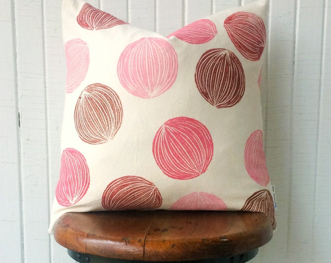 Organic cotton decor cushion cover pink and red pillow girls room decor pink geometric feminine pillowcase nursery Mother's Day eco-friend