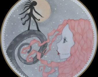 Original art jack and Sally lowbrow fantasy art