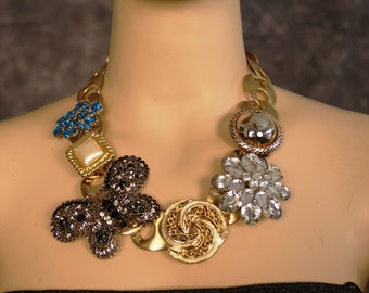 Micha Design Vintage metal choker with brooches, Necklace;  Christmas gift, Mother Day gift