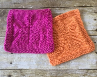HANDMADE Baby Washcloth Set. Baby shower gift. Orange. Pink. Bath cloth. Microfiber Washcloth. Knit Washcloth