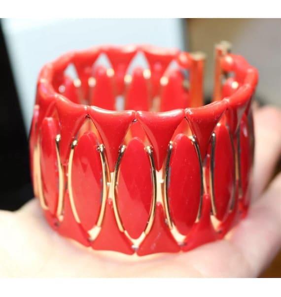 Vintage signed Western Germany mid Century Modernist Red Lucite & Goldtone Cuff Bracelet