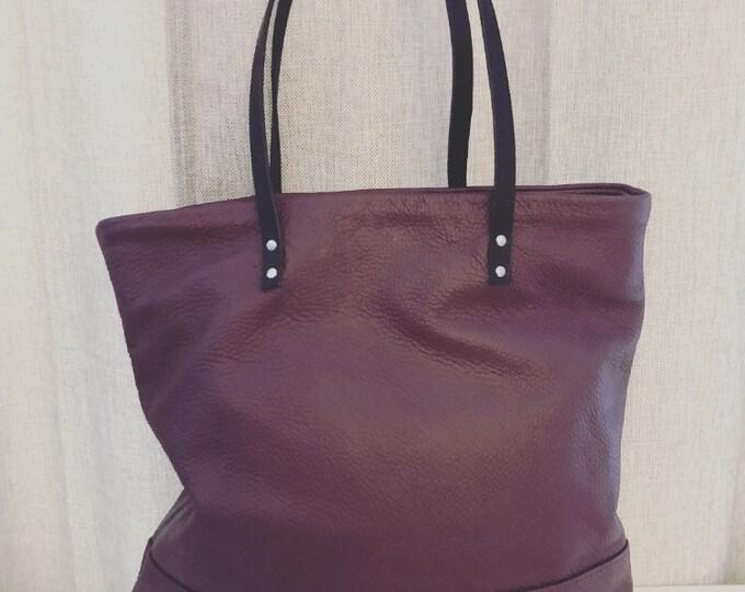 Market Tote; Beach Bag; Handmade Mauve Leather Tote