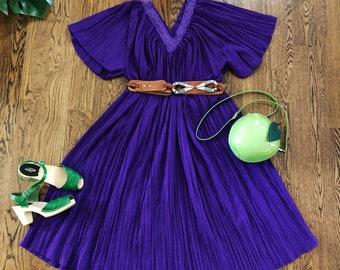 70s Boho Indian Purple Dress / Tunic Dress / 1970s Hippie Dress / Bohemian / One Size