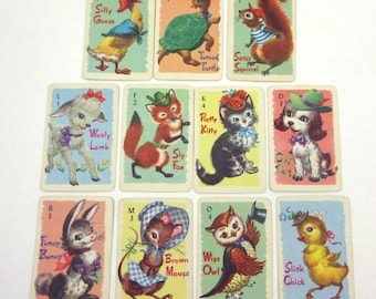 Miniature Vintage Animal Rummy Children's Playing Cards by Whitman Partial Set of 11