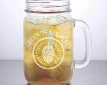 Beer Mug: Personalized Mason Jar Mugs, Best Man Gift, Barware, Custom Mason Jars, Mason Jar Mugs, Personalized Mug, Father's Day Gift