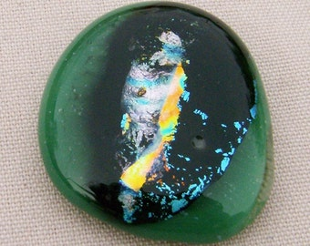 Dichroic Glass Cabochon on Large Green Base - Wonderful Colors on Black by JewelryArtistry - DC412