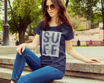 """Feminist TShirt: Suffragette """"SUFF"""" shirt (multiple colors, design of women protesting in Washington, picketing the white house)"""