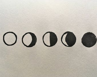 Set of 5 Hand-Carved Mini Lunar Moon Phases Rubber Stamps