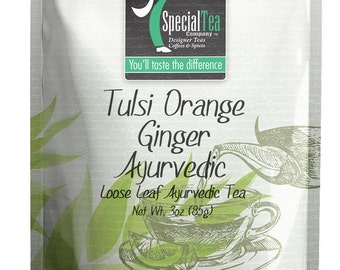 3 oz. Tulsi Orange Ginger Ayurvedic Herbal Tea with Free Tea Infuser