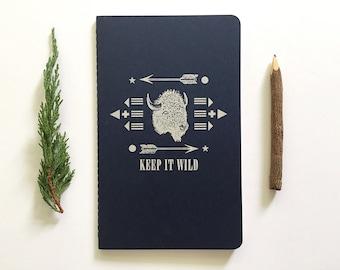 Letterpress Moleskine Journal - Keep it Wild Buffalo