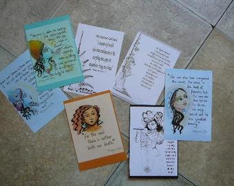 "Bhagavad gita inspirational message cards 4x6"" syamarts gifts for teachers vedic transcendental knowledge ancient verses selfframe bookmarks"