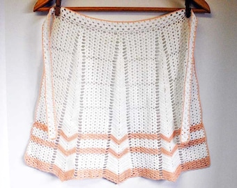 Cotton CROCHETED Half Apron / Dainty Crocheted Apron / XSmall Lacey Apron / WHITE & APRICOT Coloured Crocheted Apron