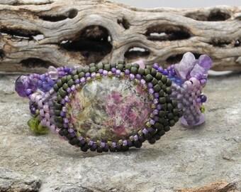 Free Form Peyote Stitch Beaded Bracelet Cuff  -  Aegirine  Cabochon - Bead Weaving - BOHO
