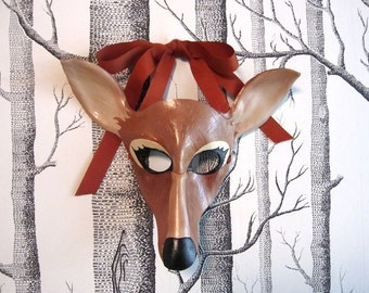 Deer Leather Mask, Adult Size - Made to Order ECO-FRIENDLY Holiday