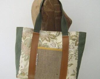 Repurposed Upholstery Fabric and Burlap Tote Bag, Diaper Bag, Handmade in Maine, USA