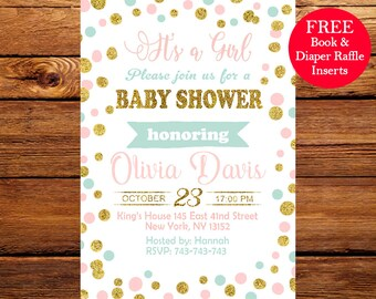 Baby Shower Invitation, Pink, Mint and Gold Baby Shower Invitation, Gold Glitter polk dots Invitation, Girl Baby Invitation 095