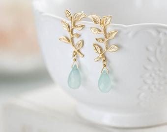 Gold Leaf Branch Aqua Blue Chalcedony Dangle Earrings Seafoam Green Natural Gemstone Earrings Post Earrings Nature Inspired Bridesmaid Gift