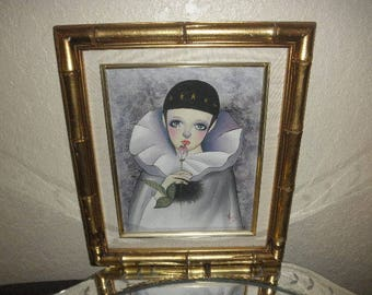 Pierrot Clown on Board with Tears in Gold Frame