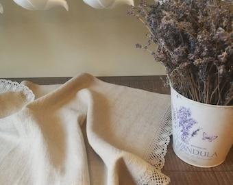Linen kitchen towel, dining towel, linen tea towel, tea towel, natural linen kitchen towel, rustic linen kitchen towels with laces