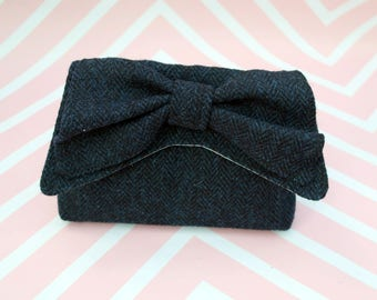 Audrey - Navy Herringbone Harris Tweed Clutch Bag - evening purse - bow - formal - handmade