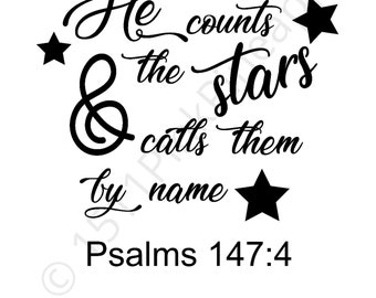 He counts the stars and calls them by name Psalms 147:4, png download, bible verse