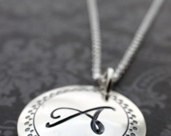 Initial Monogram Jewelry - Personalized Monogram Necklace in Sterling Silver by EWD - Personalized Monogram Gifts