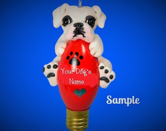 White Boxer Dog natural ears Christmas Holidays Light Bulb Ornament Sally's Bits of Clay PERSONALIZED FREE with dog's name