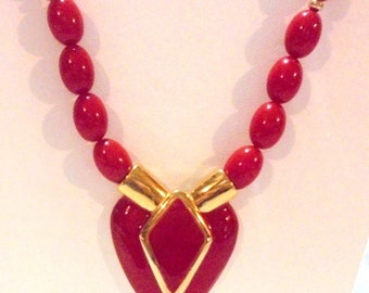 Vintage Red Heart Necklace by Napier