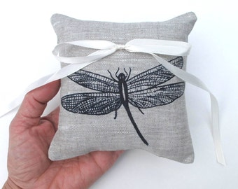 Wedding Ring Bearer Pillow, Dragonfly ring bearer pillow, 5 x 5 inches ring pillow - Choose your fabric and ink color