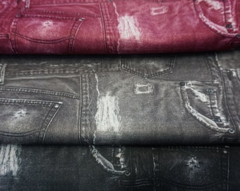 Diaper Waterproof Laminate fabric PUL, Printed Faded Jeans