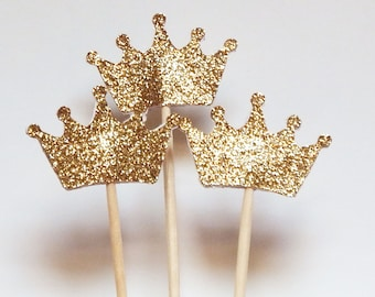 Gold Crown Cupcake Toppers,Wedding Picks,Party Picks,Food Picks