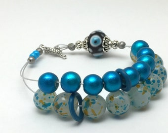 Blue Abacus Row Counting Bracelet- Beaded Knitting Row Counter- Gift for Knitters