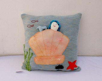 mermaid in shell  handwoven pillow toy