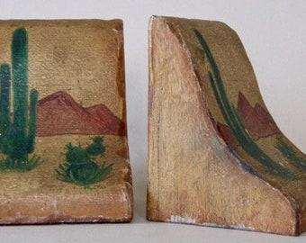 BOOKENDS: Painted Sonoran Desert Scene