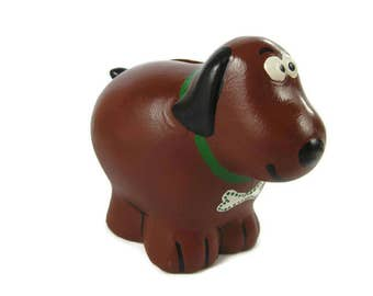 Ralphie the Dog Bank Hand Painted Ceramic Dog Piggy Bank , Coin Bank