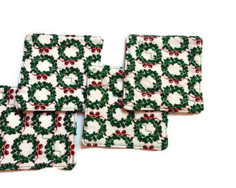 Christmas Wreaths Coasters, Set of 4 Fabric Coasters, Handmade Coasters, Ready to Ship