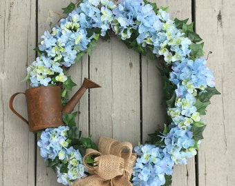 Blue Hydrangea Wreath - Rustic Summer Wreath - Farmhouse Wreath - Hydrangea Wreath for Front Door - Summer Wreath for Front Door