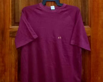 Rare!! Vintage HANG TEN T-shirt nice design surfing shirt embroidery maroon colour large size