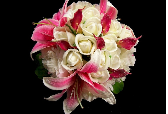 Bridal Hot Pink Stargazer Lilly Big  Bouquet
