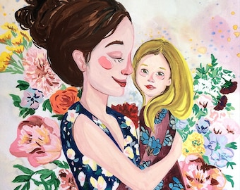 Mother's Day Original Gouache Portrait Illustration
