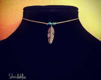 Feather choker- feather necklace, choker, necklace, feather, wild, simple, trendy, fashion, jewelry, feather charm