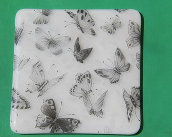 4 butterfly fused glass coasters, fused glass coasters,  butterfly coasters, fused glass, black and white coasters, fused glass,