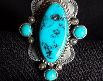 Navajo Sterling Silver and Sleeping Beauty Turquoise Tooled Ring