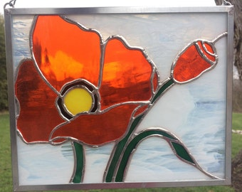 Stained Glass Poppy, Stained Glass Panel, Flower, Sun Catcher, Honey Dew Glass