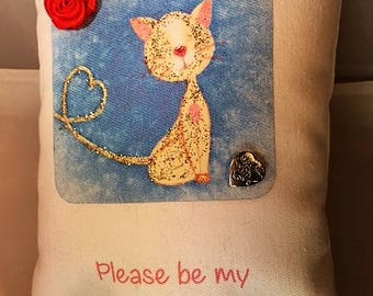 Please Be My Valentine, message pillow with cute orange cat